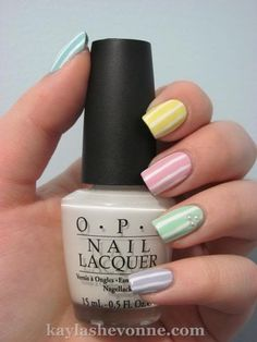 Pastel Striped Nails with Pearls