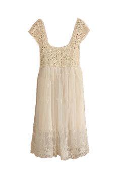 Crochet Lace Puff Dress