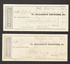 Lot of 2 1875 Receipts McLanes Express Dr WD Mclane Transportation