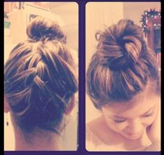 """upsidedown braided highbun"" -- hair I did on my bestfriend! <3"