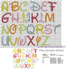 CROSS STITCH Disney colored font letters cross stitch free alphabet - free cross stitch patterns by Alex Cross Stitch Alphabet Patterns, Disney Cross Stitch Patterns, Cross Stitch Letters, Cross Stitch Baby, Cross Stitch Designs, Cross Stitch Font, Free Cross Stitch Charts, Cross Stitching, Cross Stitch Embroidery