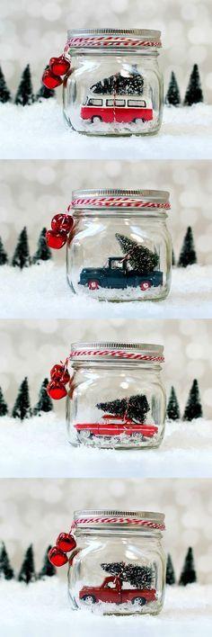 Mason Jar Snow Globes: Vintage Cars & Trucks in Mason Jars. These make the best Christmas decorations!