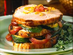 Recipe for Grilled Turkey Vegetable Stack with Orange Garlic Marinade - Succulent turkey breast marinated with orange juice, garlic and thyme, then grilled.