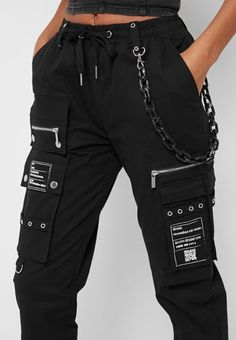 Cargo Pants with Marble Chain - Black Tomboy Fashion, Teen Fashion Outfits, Edgy Outfits, Swag Outfits, Retro Outfits, Cute Casual Outfits, Grunge Outfits, Streetwear Fashion, Nike Fashion Outfit