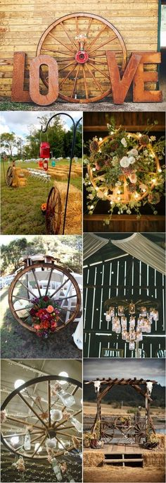 Rustic Country Wedding Ideas with Wagon Wheel Details