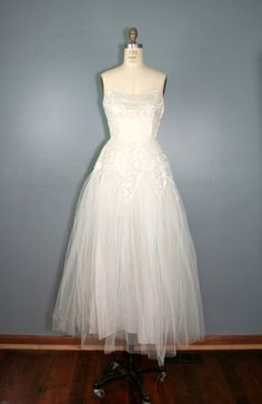 Vintage 50's Tulle Wedding  Dress