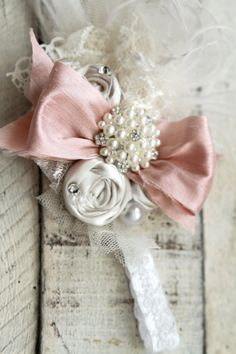 Fancy Girl Newborn Shabby Chic Bow On Lace band by londonraquel, $29.00
