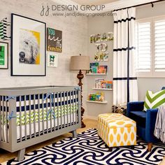 Boy nursery #navy #blue #green #grey #yellow #dog