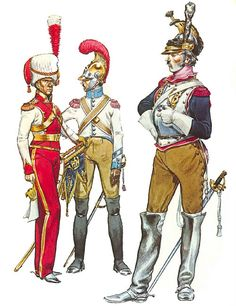 """""""• Trumpet-Major, 2nd (Dutch) Lancers, Imperial Guard, full dress , 1812 • Sergeant, 2nd Carabiniers, dismounted dress , 1812 • Trooper, 10th Cuirassiers, campaign dress, 1812"""", Michael Chappell"""
