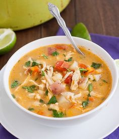 Chipotle Chicken Chowder by Tracey's Culinary Adventures, via Flickr. Will have to look for hominy. Or replace with some beans.