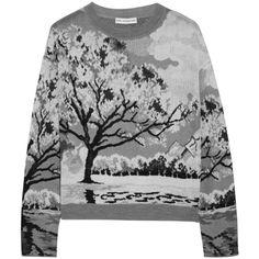 Mary Katrantzou Landscape-intarsia knitted sweater (770 AUD) ❤ liked on Polyvore featuring tops, sweaters, shirts, jumpers, grey, knit jumper, loose shirts, knit sweater, knit top and grey jumper