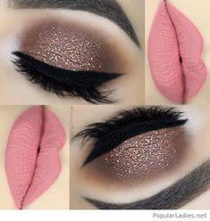 Glitter eye makeup and matte lips