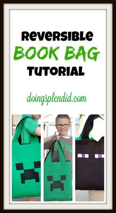 Reversible book bag tutorial from Doing Splendid