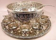 S. Kirk & Son sterling silver punch set - bowl, tray, 12 cups, and ladle. Click for details