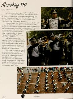 "Athena yearbook, 2006. ""Marching 110."" Different members of the band during a parade. ::Ohio University Archives"