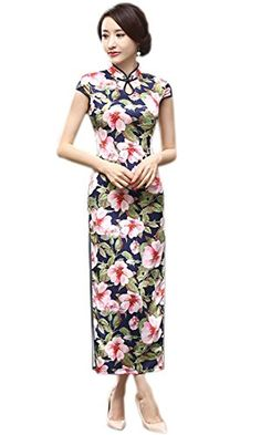 da832221f YueLian Women's Long Chinese Style Wedding Dress Qipao Cheongsam Party Dress  - 18, China S