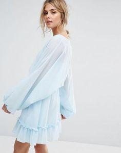 Платье мини с пышными рукавами Boohoo