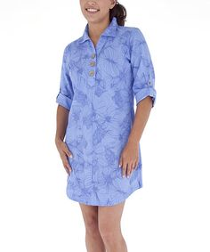 Another great find on #zulily! Blue Kalhri Cool Mesh Shirt Dress by Royal Robbins #zulilyfinds