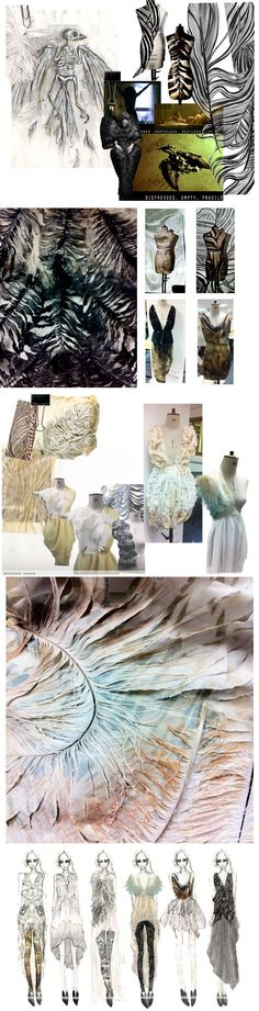 Fashion Design sketchbook drawings, moodboard, sampling, design development, final line up. Claire Macintyre: Fragile Bird