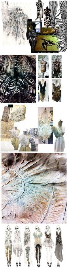 Fashion Design sketchbook drawings, moodboard, sampling, design development, final line up. Claire Macintyre: Fragile Bird