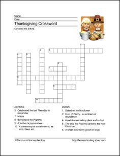Thanksgiving Printables: Thanksgiving Crossword Puzzle