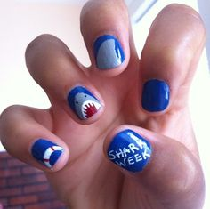My roommate painted my nails last year for shark week! #nailart #sharkweek #shark