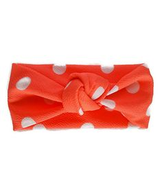 Look at this #zulilyfind! Neon Coral Polka Dot Headband #zulilyfinds