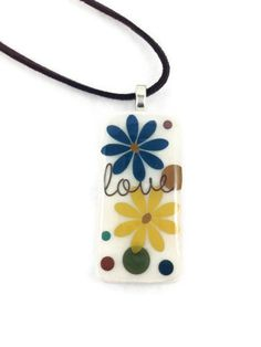 Love Thoughts Domino Pendant Necklace with a soft suede brown cord $17.00