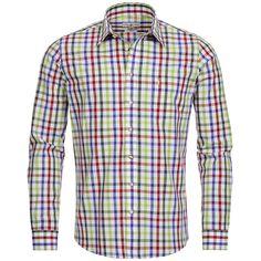 Trachtenhemd Slim Fit mehrfarbig in Rot, Hellgrün und Grün von Almsach