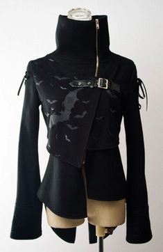 Veste noire chauve-souris à grand col de Punk Rave Y-101