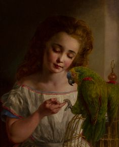 Young Girl with a Parrot ~ Edward Holmes ~ Thomas Fine Art Bird Paintings, Parrot, Fine Art, Portrait, Drawings, Pretty, Sketches, Parrot Bird, Paintings Of Birds
