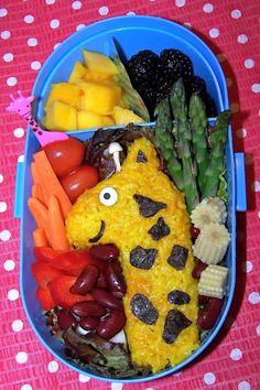 Giraffe Kyaraben Bento Lunch - Turmeric Rice, Nori Seaweeds, Enoki Mushroom