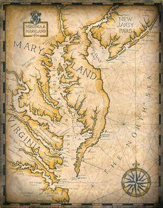Chesapeake Bay Map Artwork c. 1670 11 x 15 by GeographicsArt