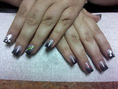 Star Wars nails - silver glitter (good) fading into black glitter (evil). Right hand evil, left hand good.
