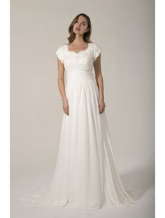 e758cc9cd99 2017 Elegant Chiffon Modest Wedding Dresses With Cap Sleeves Beaded Top  Chiffon Skirt Buttons Back Informal Rception Dress Bride-in Wedding Dresses  from ...