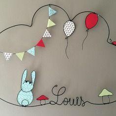 Prenom fil de fer lapin ballons louis