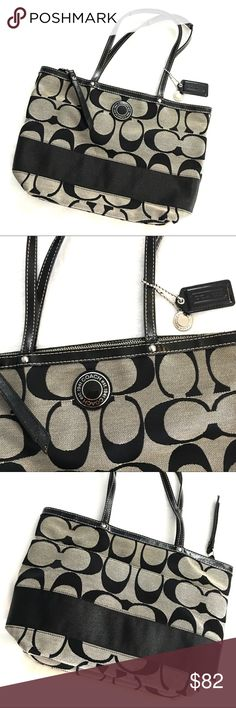 Coach Tote Like New Authentic Coach Like New Tote. Black and white monogram Coach Tote. Inner pockets as well as outer pocket for storage. Great shoulder bag! Smoke free. Very gently uses. NO signs of wear! In Excellent condition! What you see is exactly what you get!  I really love this bag but it's lived in my closet too long and should be loved by someone who will use her! Coach Bags Totes