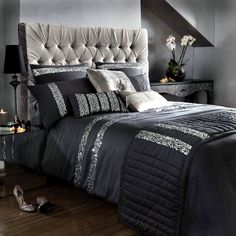 Im SO trying to find this Safia Black Sequins Bedding - Bed Linen by Kylie Minogue Celebrity Designer Silver Bedding, Black Bedding, Sequin Bedding, Black Headboard, Purple Bedding, Home Bedroom, Master Bedroom, Bedroom Decor, Bedding Decor