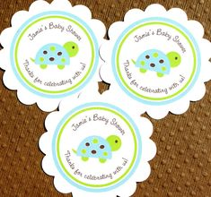 PRINTABLE Turtle Baby Shower Labels for Stickers, Tags, Banners, Cupcke Toppers - Personalized in Lime, Aqua & Brown - DIY on Etsy, $10.00