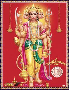 Panchamukhi Hanuman - Hindu Posters (Reprint on Paper - Unframed) Hanuman Pics, Hanuman Images, Lakshmi Images, Hanuman Chalisa, Shiva Hindu, Shiva Shakti, Hindu Deities, Hanuman Ji Wallpapers, Durga Goddess