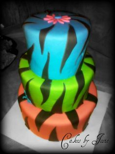 MultiColor Zebra Print Cake