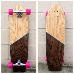 Kona and Natural Stain, Royal Stripe, Hot Pink Wheels Board
