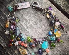 Plata pulsera piedra preciosa pulsera hecho a mano salvaje pradera joyas de plata alegría Kruse