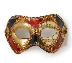 Colombina Scacchi colore musica stucchi F65 « Atelier Marega Traditional Venetian mask