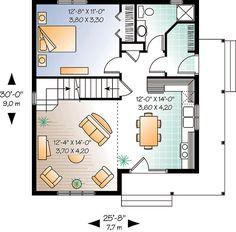 First Floor Plan of Cabin Country House Plan 64983 again, no second floor. use stair area for pantry/storage