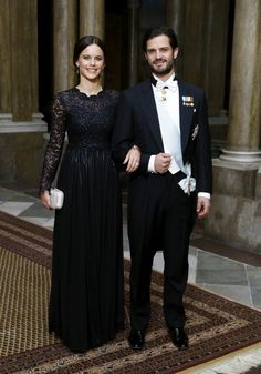 Sofia Hellqvist donning a black dress by Key Senchai. Miss Sofia arrived together with Prince Carl Philip at the Royal Palace in Stockholm. 11 Feb 2015