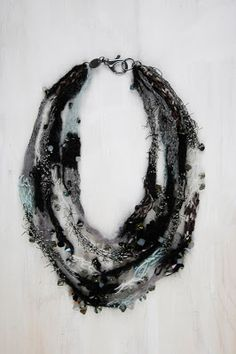 Heather Goldberg Jewelry - Each piece is composed of all natural fibers such as cotton, silk, cashmere, mohair, bamboo and merino wool, and each one is embellished with Swarovski crystals.