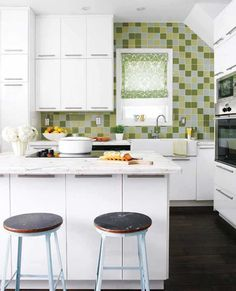 Desain Dapur Kecil 8 Green Kitchen Tile Cute And Bath