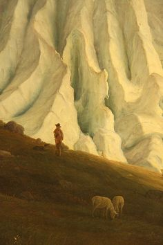 """Detail of """"The Grindelwaldgletscher"""" (Grindelwaldgletscheren) by Thomas Fearnley"""