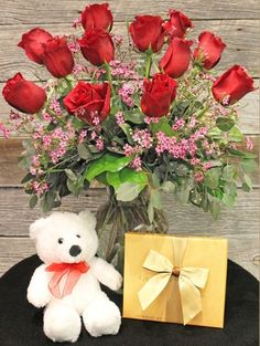 My Perfect Valentine.  Denver Reserve Roses, adorable white Valentine bear and Godiva Chocolates.   Denver Florist, Veldkamp's Flowers, Same Day Delivery Nationwide.   http://www.veldkampsflowers.com/product.cfm?iteID=3427